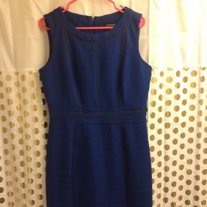 Ellen Tracy Pointe Sheath Dress 12 blue